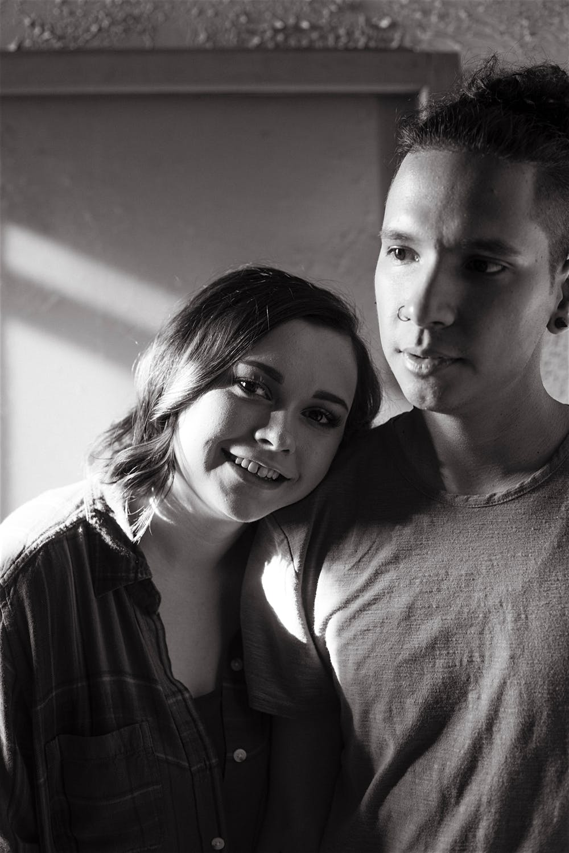 couple portrait black and white abandoned buildling