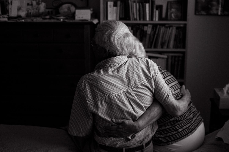 grandma and grandpa hugging portrait session anniversary