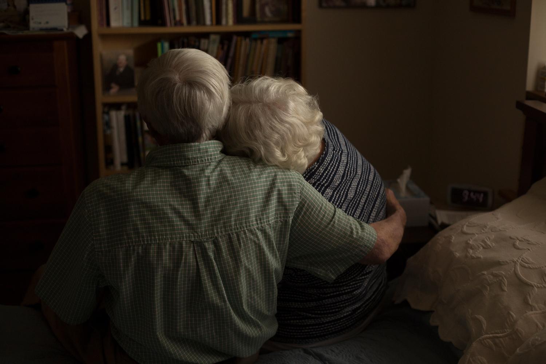 couple hugging anniversary portraits grandma and grandpa