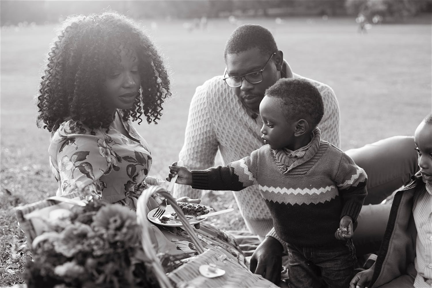 family eating a pie at a picnic