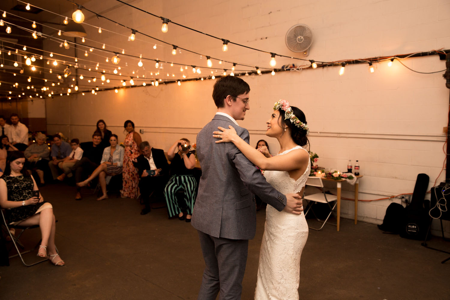 first dance bat haus coworking space wedding photography