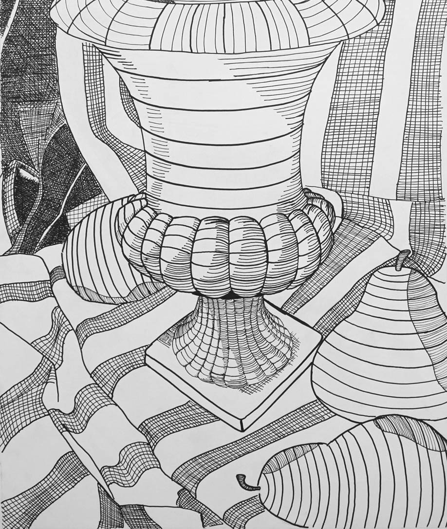 contour drawing with micron pens and sharpie