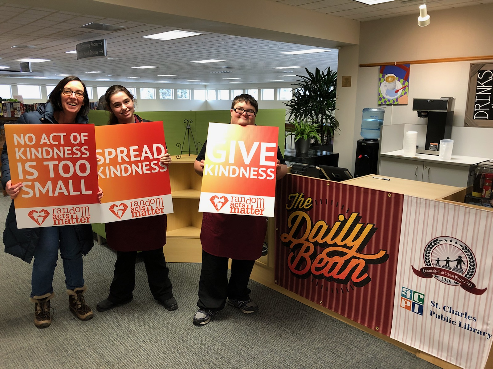 Thanks to Jon and Jordynn, 2 awesome D303 Transition OJT students working at The Daily Bean!!   They are helping us kick off Random Acts of Kindness Week today! Stop by the STC Library some morning when school is open for a cup of coffee and great service by these terrific students!