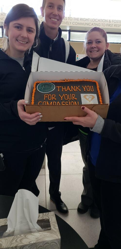 Shawn and Bill delivered this Cake of Kindness to the folks working at Tri-Com 911 center!