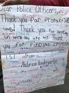 The amazing students of our community made posters and wrote the most thoughtful thank you notes to the officers.