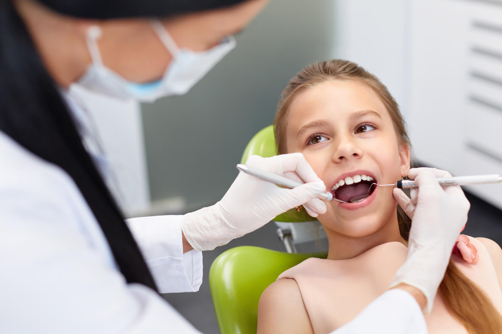 Child having a dental check-up