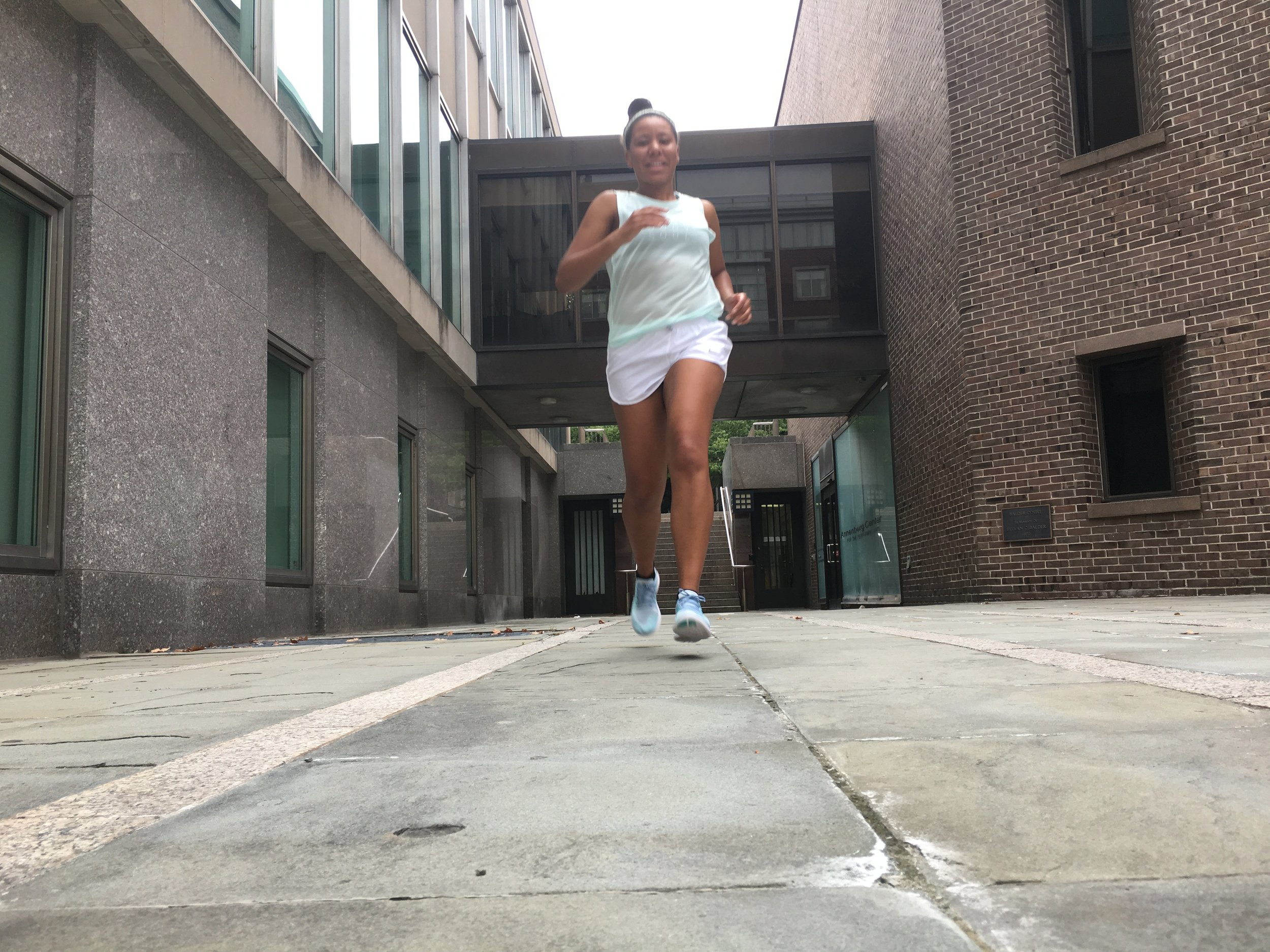 Perfect for summer running, Stacey is wearing the Nike Breathe tank and Nike Tempo shorts.