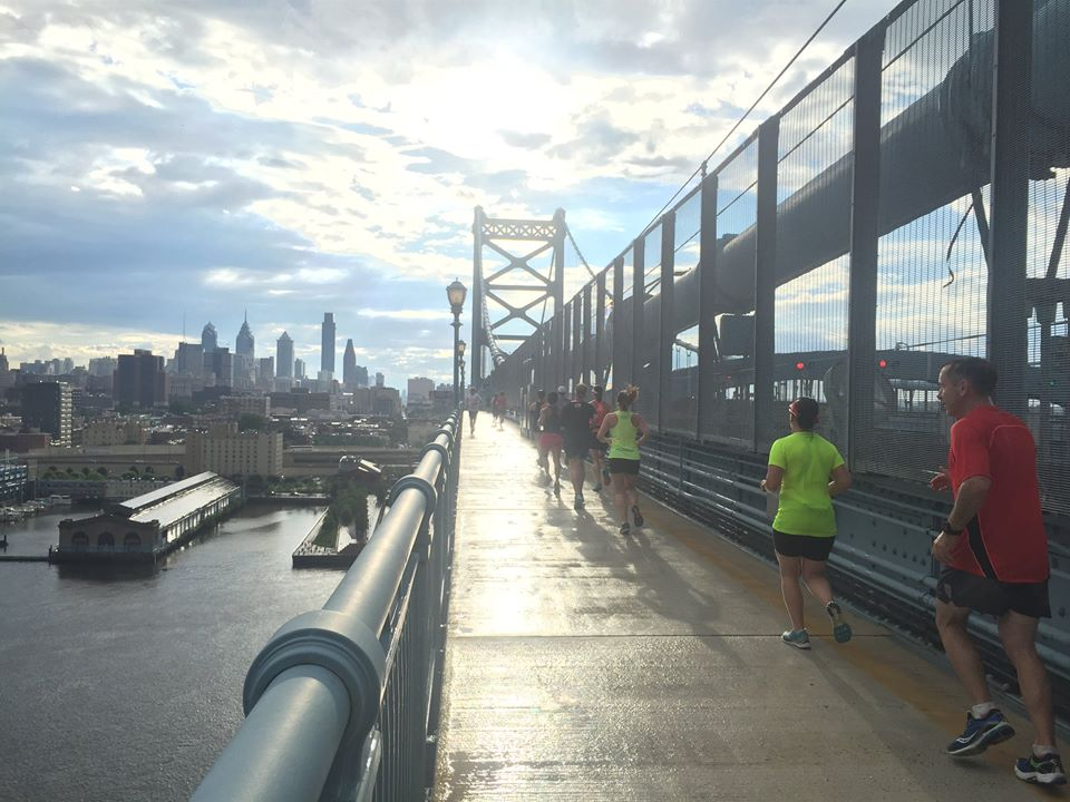 Don't let this view deceive you! The Ben Franklin Bridge is a great place to get in hill work!