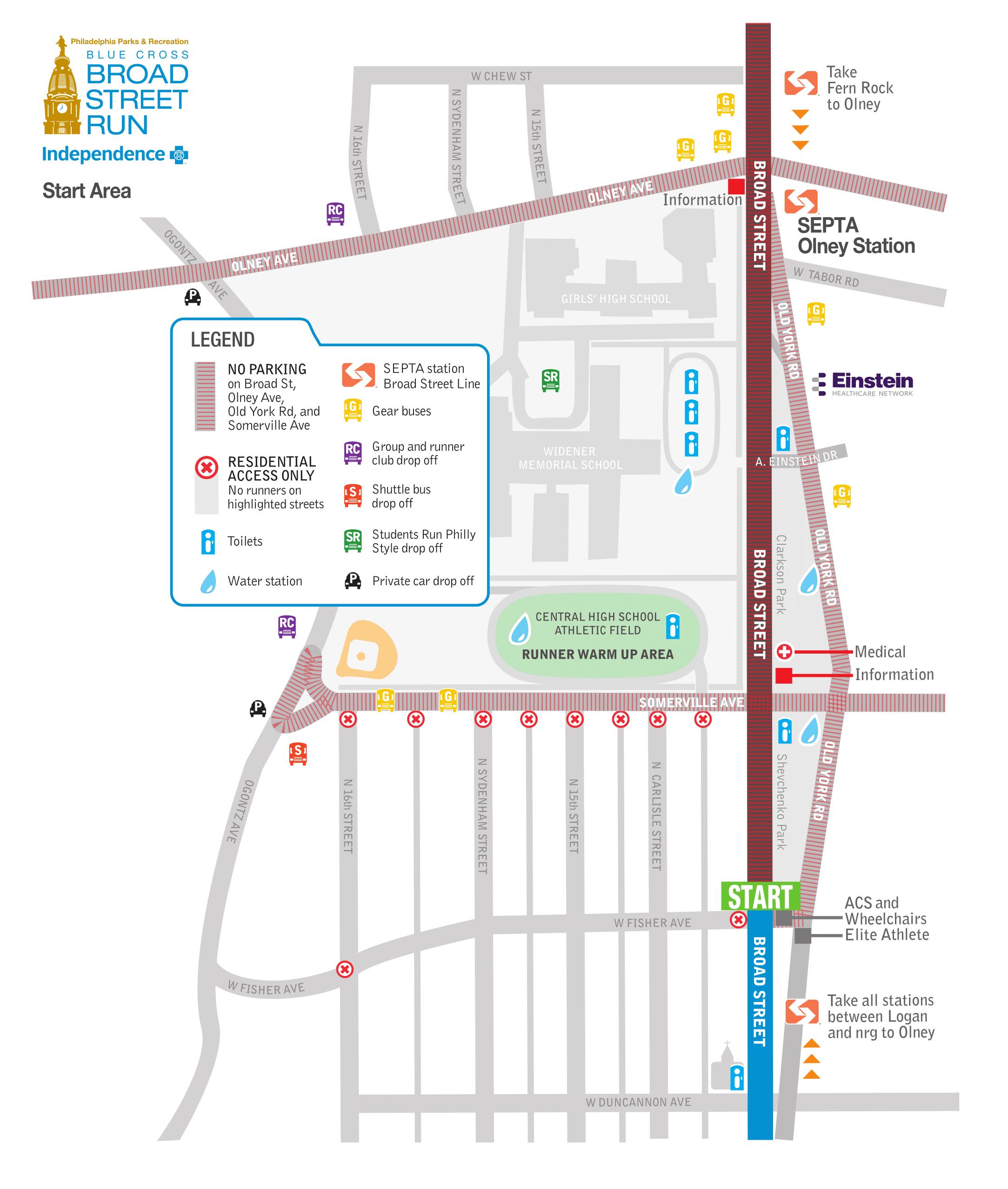 Start Area Map via Broad Street Run