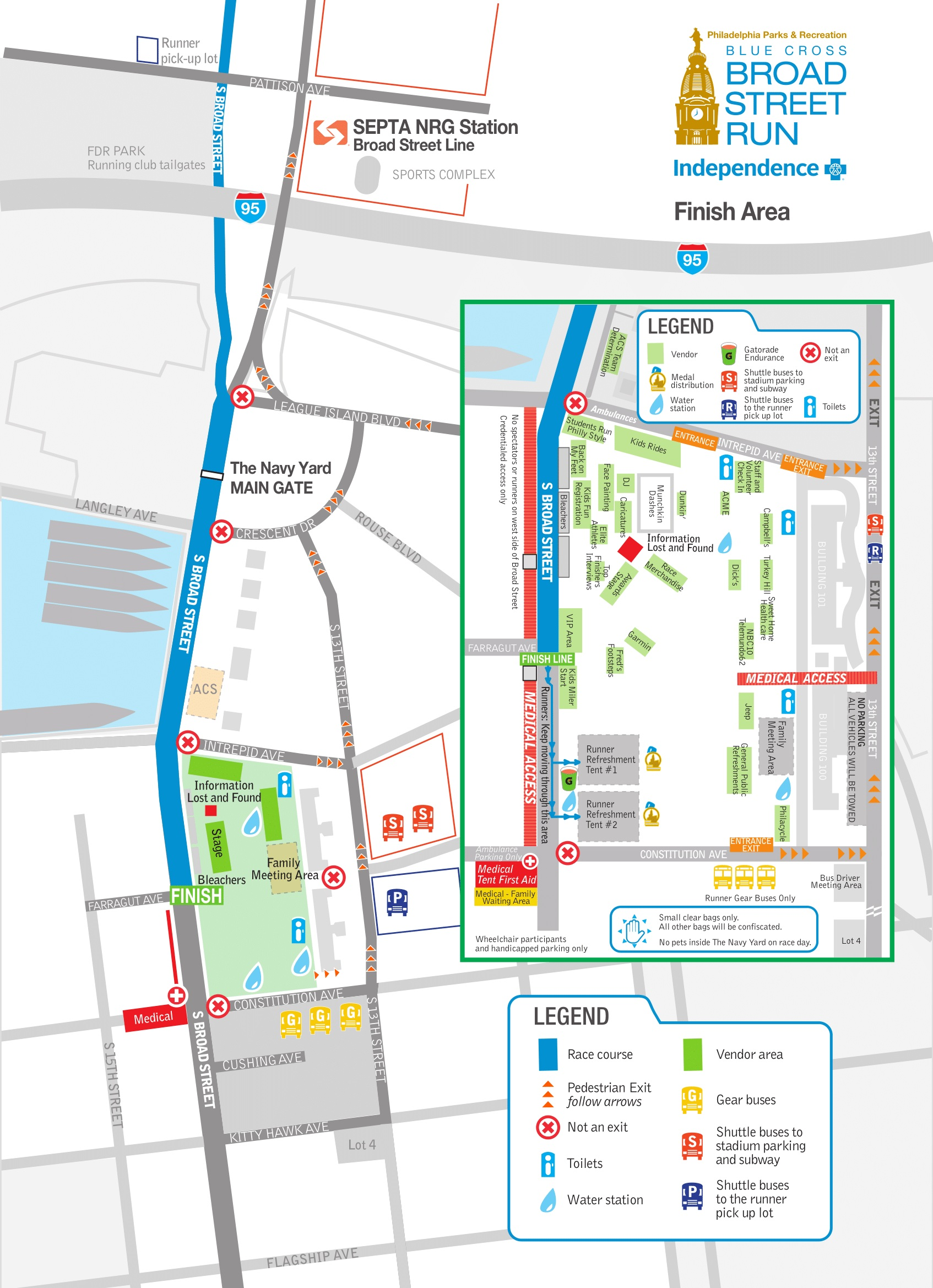 Finish Area Map via Broad Street Run