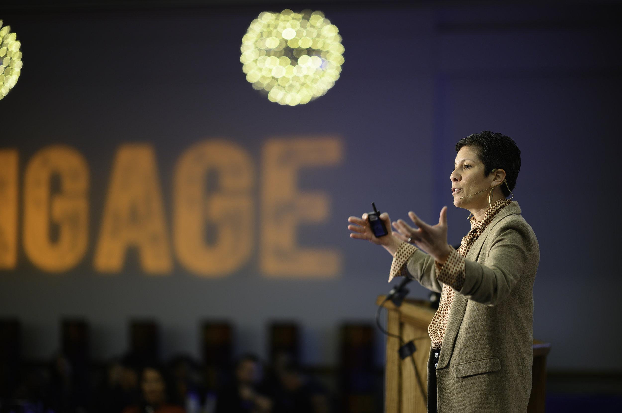 Jennifer Valenzuela presents her challenge at Dallas Opening Forum