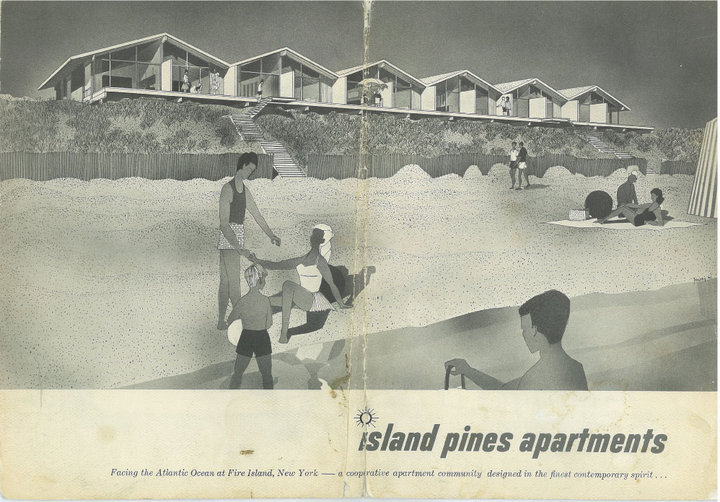 Two of several images on the Fire Island Pines Historical Preservation website about the early days of The Co-ops. Note the height of the dunes in the photo above!