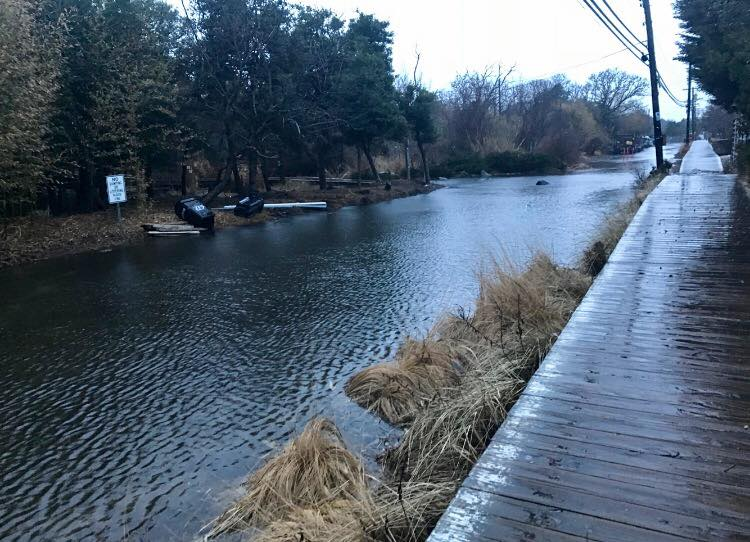 Fire Island Blvd is completely underwater after a nor'easter hit the East Coast on March 2nd.