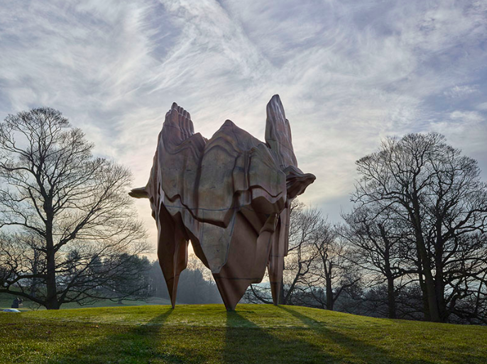 The 16-foot-tall (4.9 m)  Caldera , by leading British sculptor Tony Cragg, at Yorkshire Sculpture Park. The venue's indoor gallery recently hosted the biggest UK exhibition of his work to date. Tony Cragg,  Caldera , 2008. Bronze, 480 x 372 x 342cm. Courtesy the artist and Yorkshire Sculpture Park. Photograph: Michael Richter.