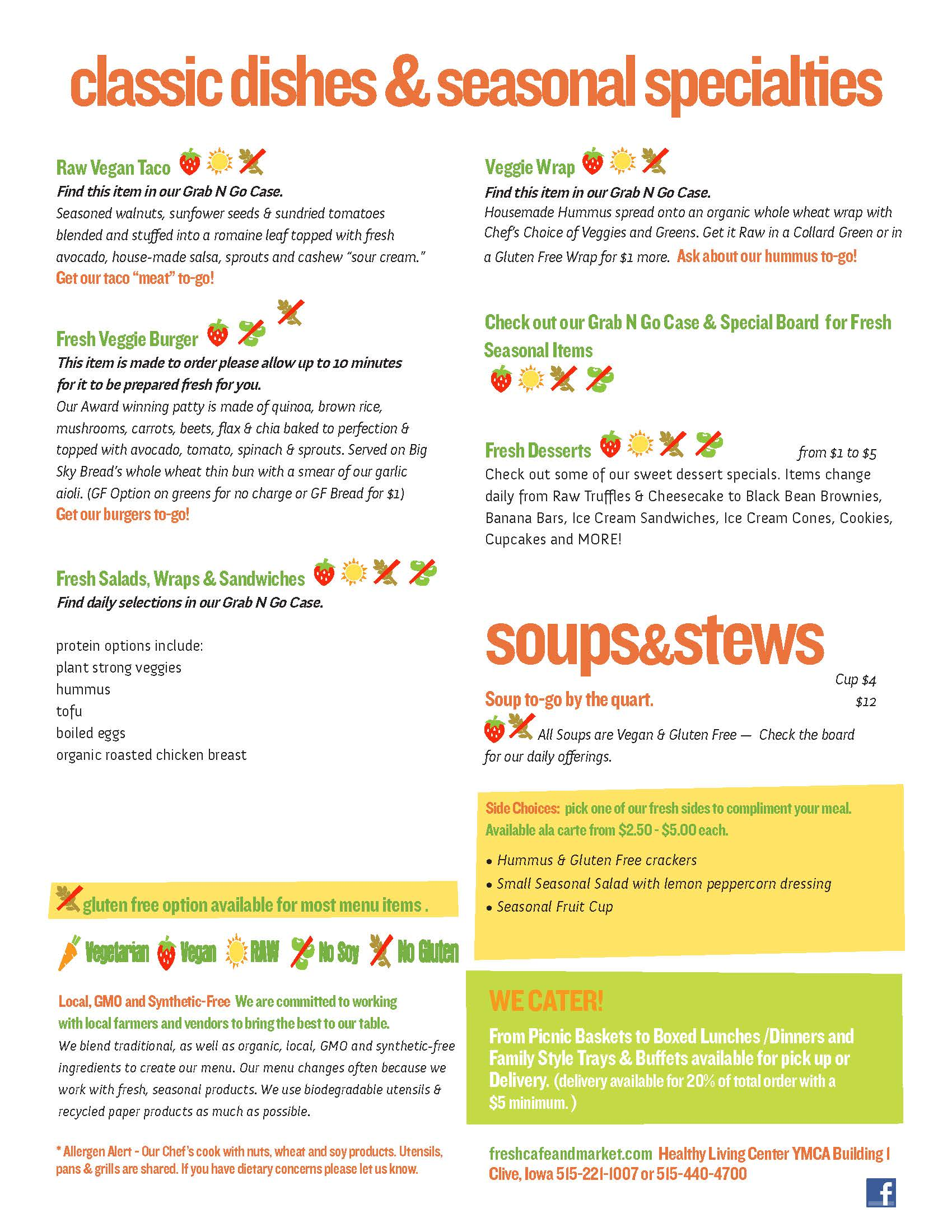 Fresh Cafe & Market menu
