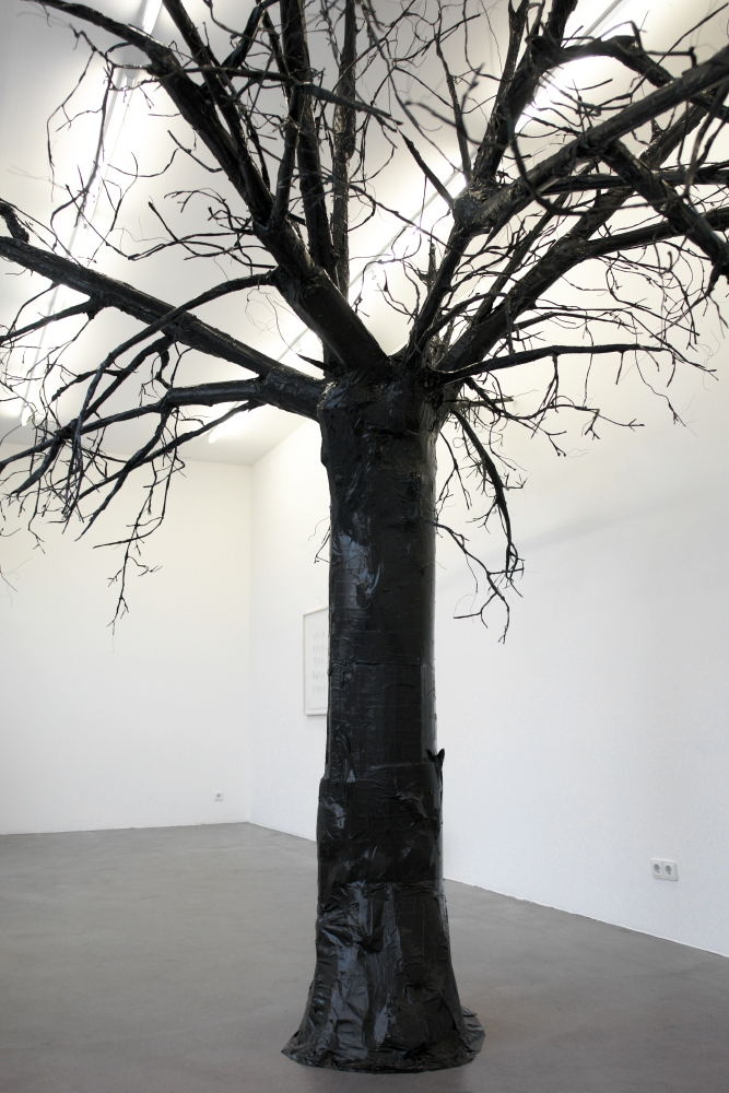 The Black Tree , 2005 - 2007, cardboard, newspaper, wood, wire, duct tape,dimensions variable.