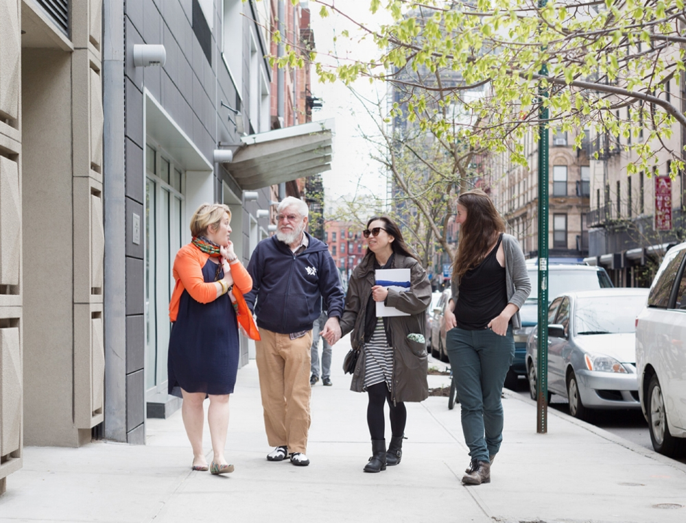 Kathy Battista, Dan Graham, Mieko Meguro and Katie Holten, walking on Orchard Street in New York on April 27, 2014. Photo by Eva O'Leary.