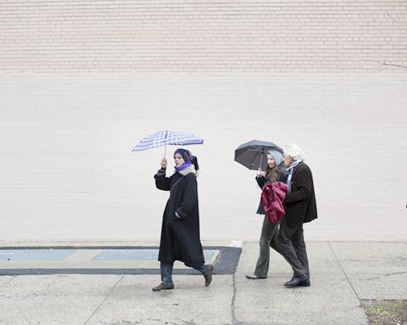 Walk in the rain with Mariateresa Sartori and Samuel Bordreuil.