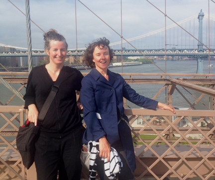 Walk with Marie Lorenz. Photo on the Brooklyn Bridge,by anonymous tourist.