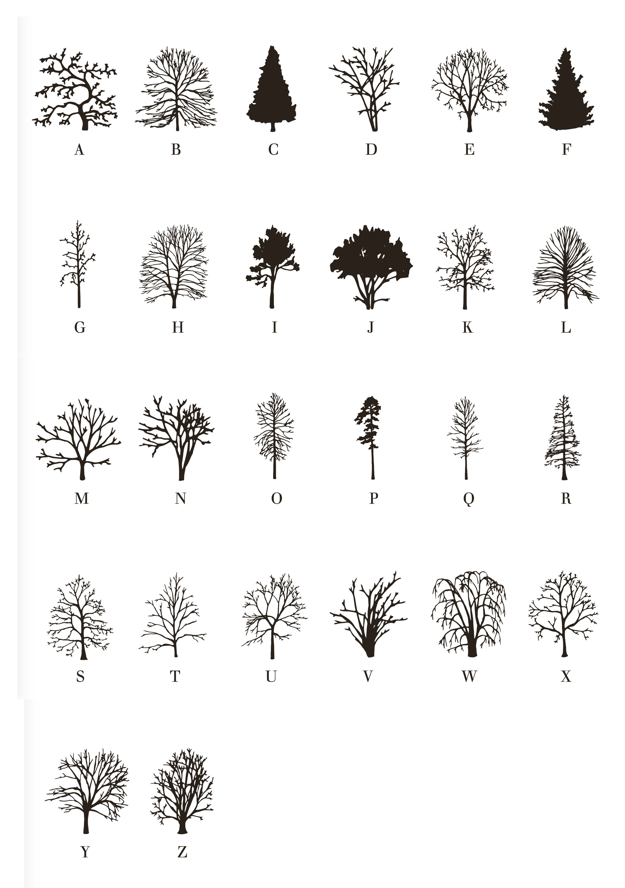 Trees Typeface, 2015, handmade offset print on paper, 308gm, 50 x 70 cm, edition of 50. Signed, numbered and dated by the artist.  Buy prints here.