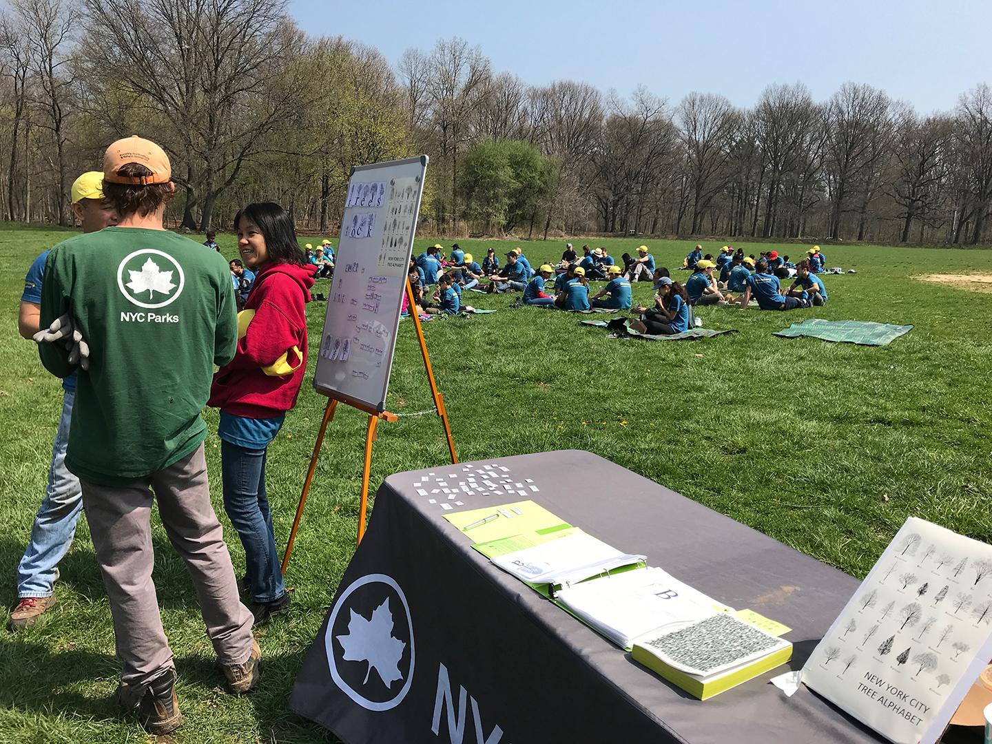 Sharing the  New York City Tree Alphabet  during a tree planting session with the NYC Parks Department in Pelham Bay Park, Bronx, NY, April 28, 2018.