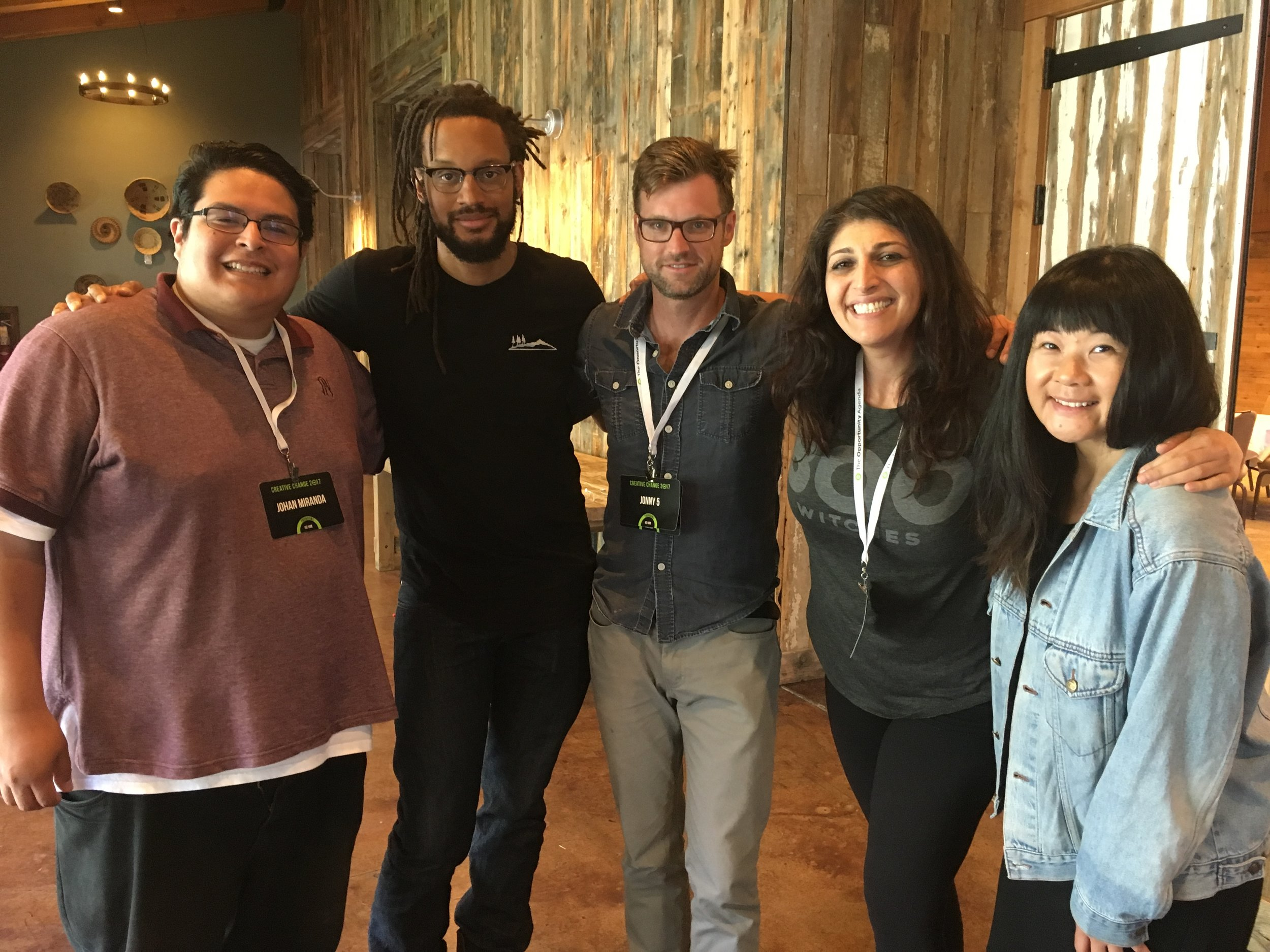 "Pictured L to R - Johan Miranda, Brer Rabbit, Jonny 5, Zahra Noorbakhsh, Jenny Yang   At The Opportunity Agenda's ""Creative Change"" retreat at Sundance, Jonny & Brer turn to three stand-up comedians for podcast advice. Things take a scandalous turn right away, as the hosts become the guests and the comedians begin probing into the Flobots' teenage years.  @ Zahracomedy  co-host of  #GoodMuslimBadMuslim   www.zahracomedy.com   @ Johancomedy   www.johanmiranda.com   @ jennyyangtv  comedian, writer, actor, host jennyyang.tv disorientedcomedy.com comedycomedyfest.com  Music: Quarantine - Flobots"