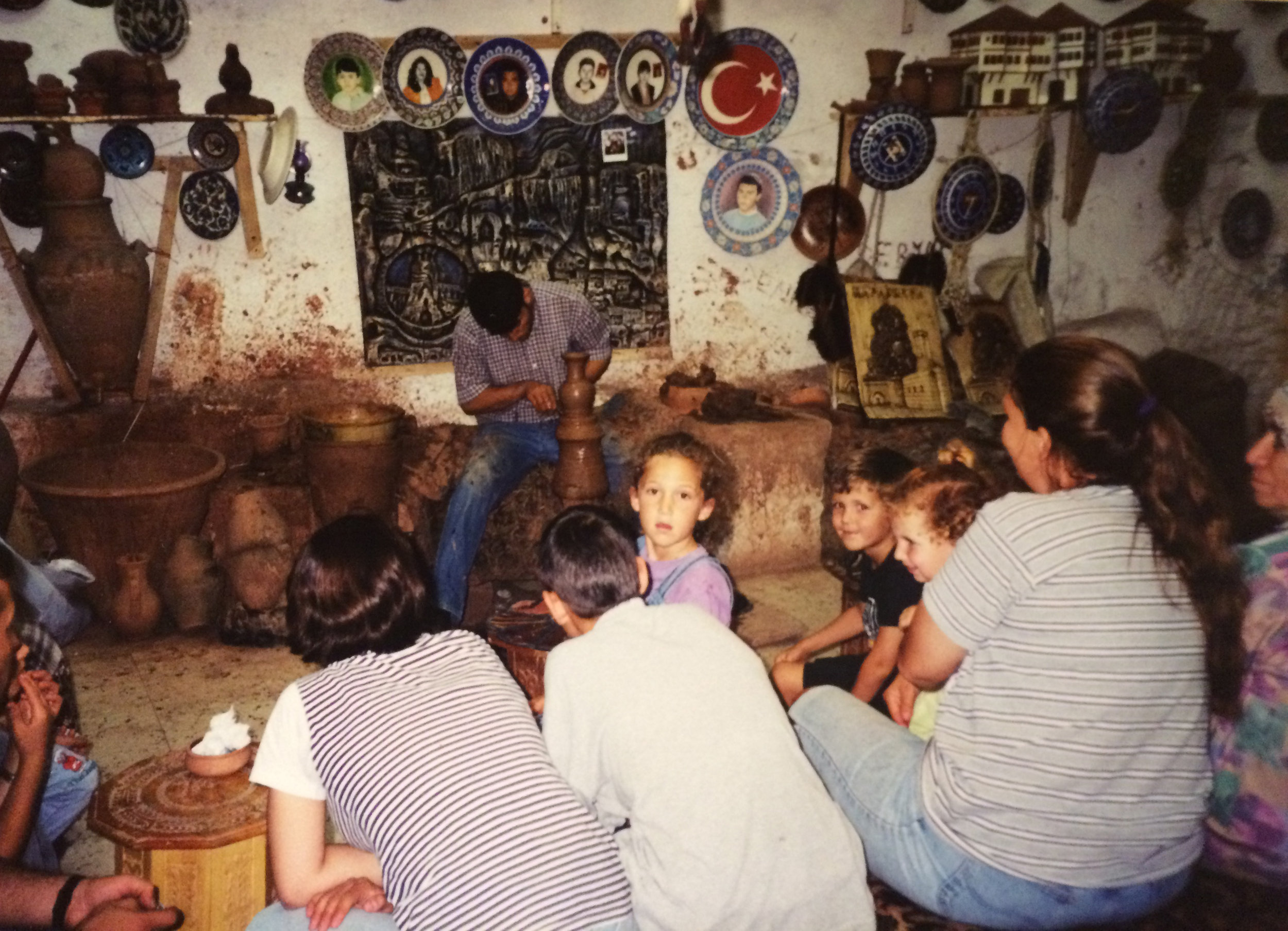 Yours truly in the middle, clearly mesmerized by the work of this ceramicist. This was on a trip to Turkey in 1999 to visit Istanbul where my father grew up and also visit the village Burunkisla that my Armenian grandfather was from. This ceramic shop was in Nevsehir near Burunkisla.
