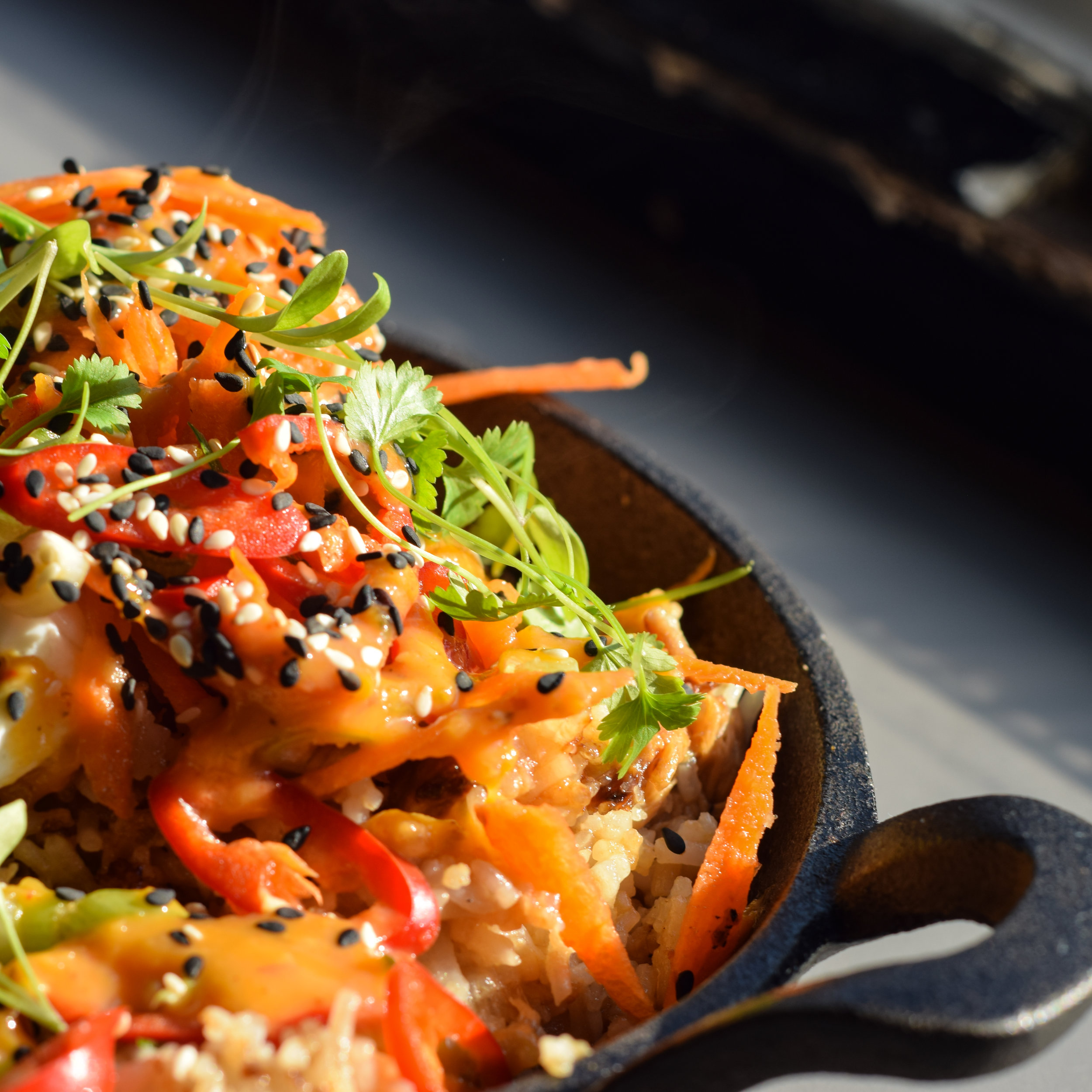 Pork Fried rice in sweet and sour sauce with poached egg.jpg
