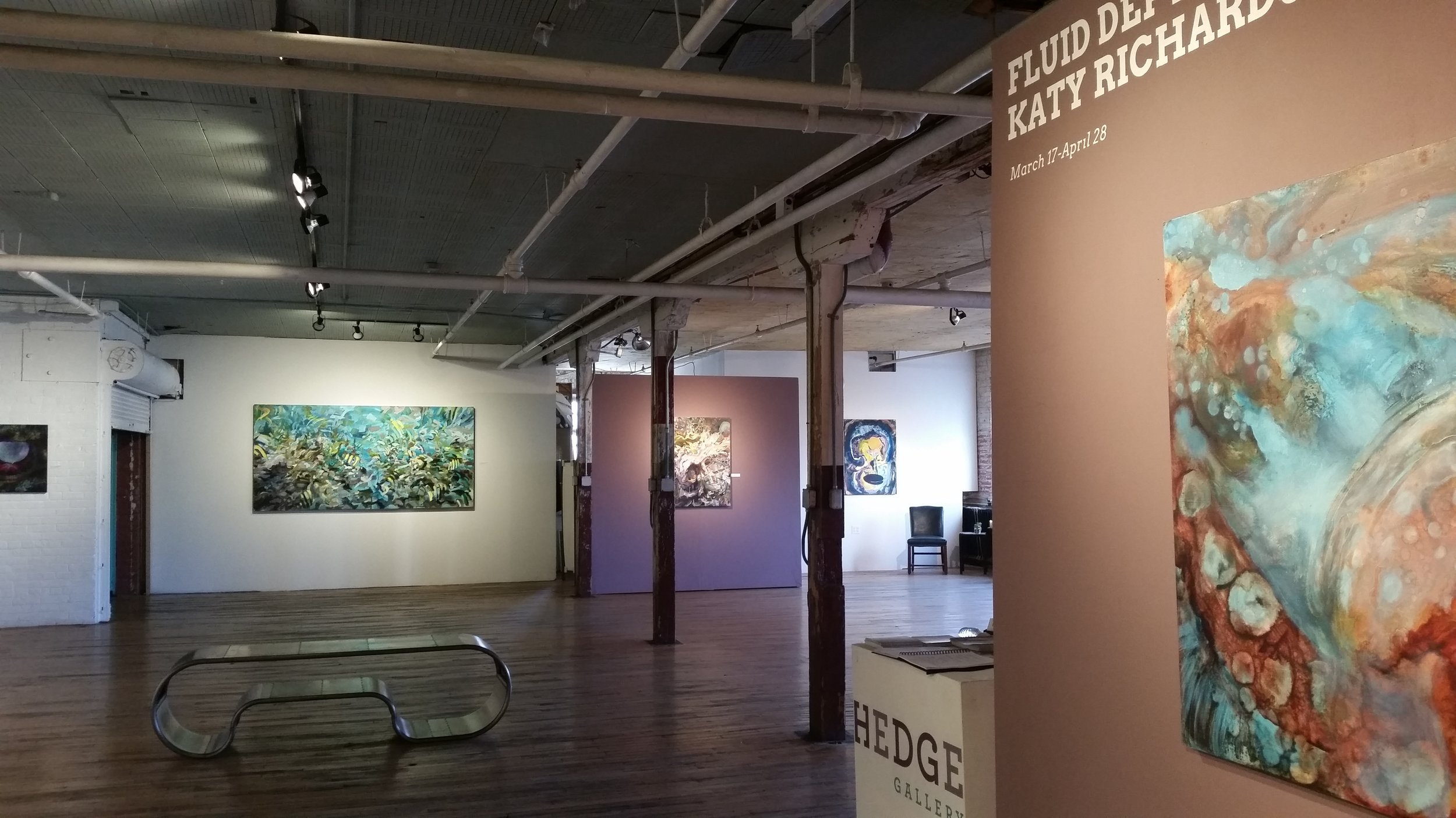 Installation view of Katy Richards' Fluid Depths @ Hedge Gallery