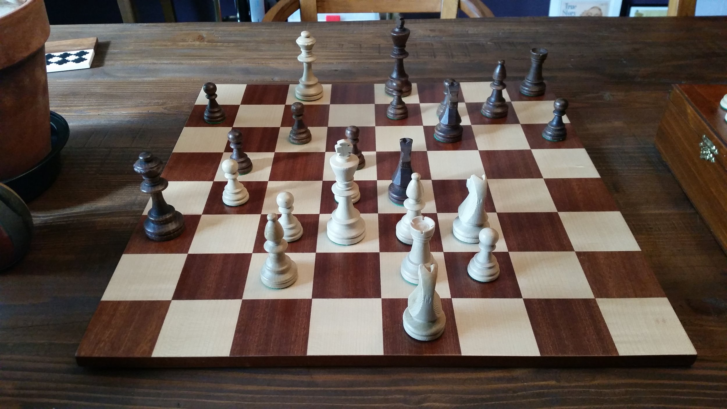 Checkmate! My husband is teaching me how to play chess. I won the very first game, and exactly zero games since.