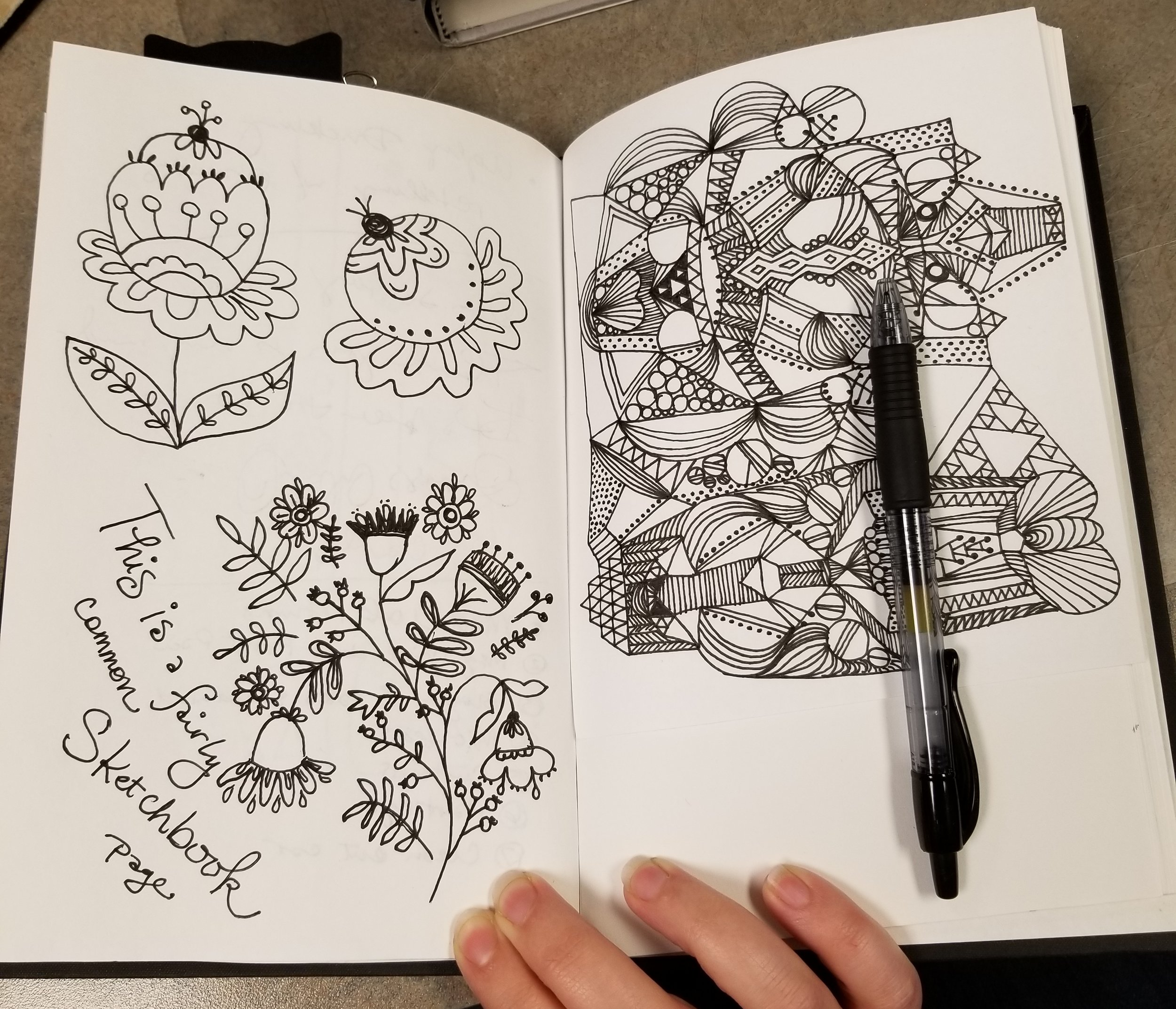 "This is NOT a fairly common Sketchbook page... this is one of the stronger ones!  Doodles on the left inspired by Dinara Mirtalipova's "" Imagine a Forest ,"" check it out  here ."
