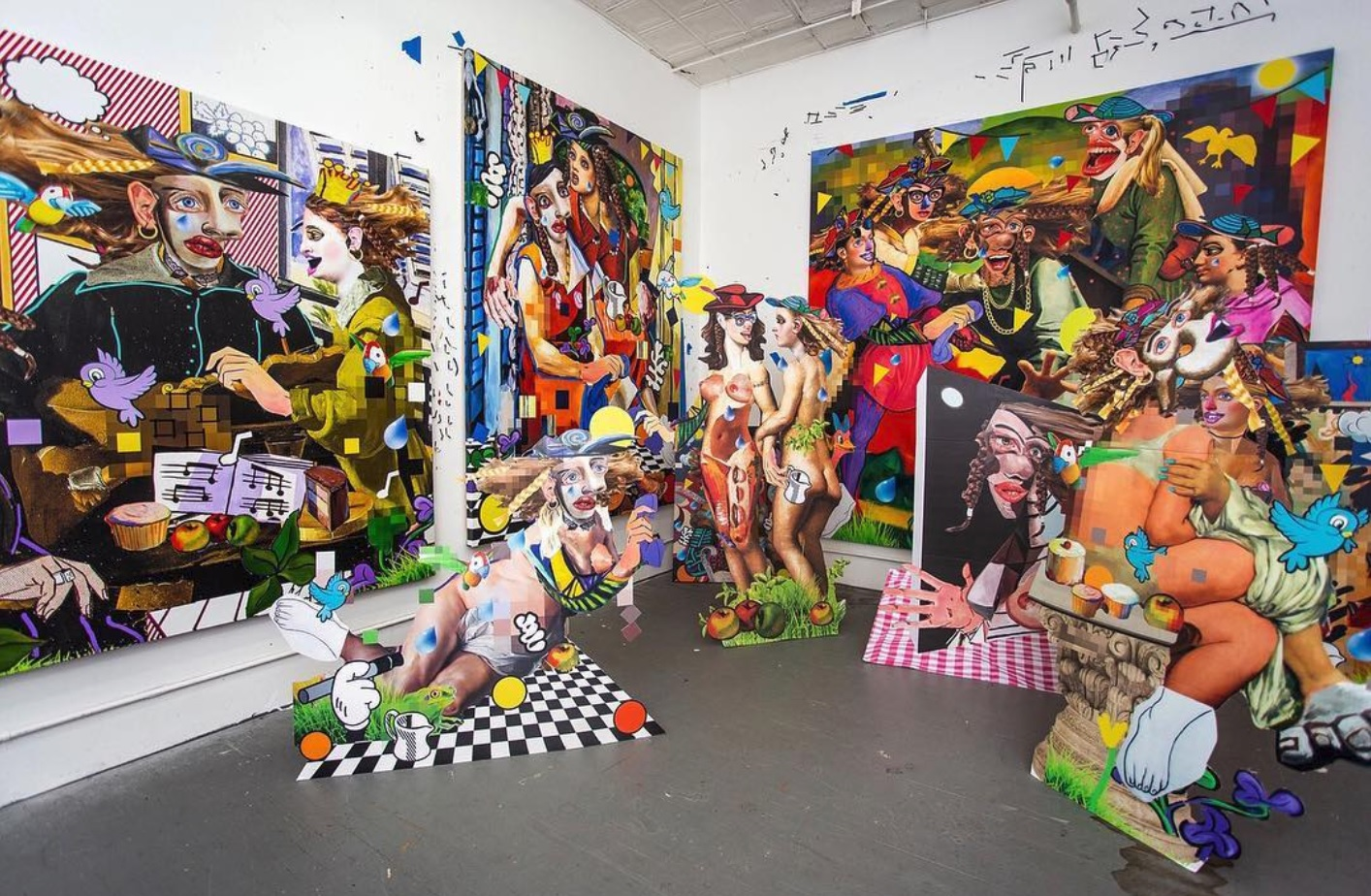 Allison Zuckerman's Brooklyn studio. I can't think of a more perfect example of the impossibly chaotic feeling of classical visual culture being utterly consumed by post-modern, digital icons. Death by a million stickers.