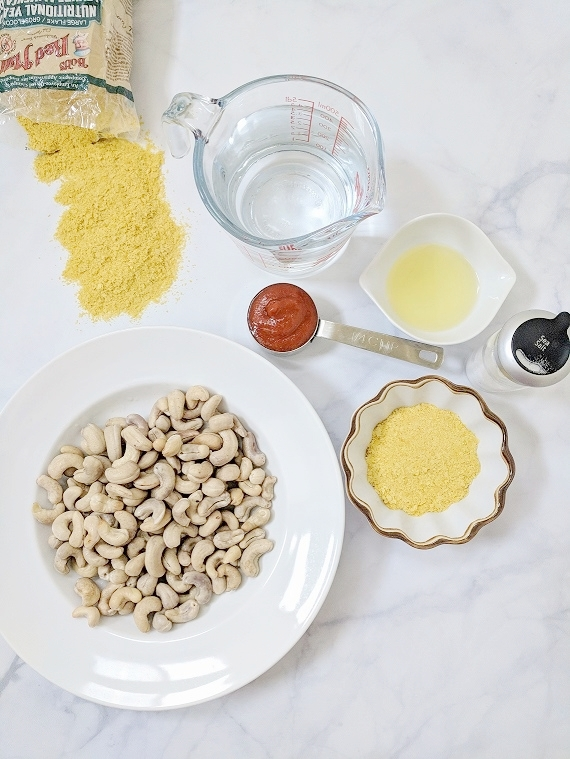 Seven simple ingredients for the yummiest 'cheese' dip & multi-purpose condiment - dairy-free queso!