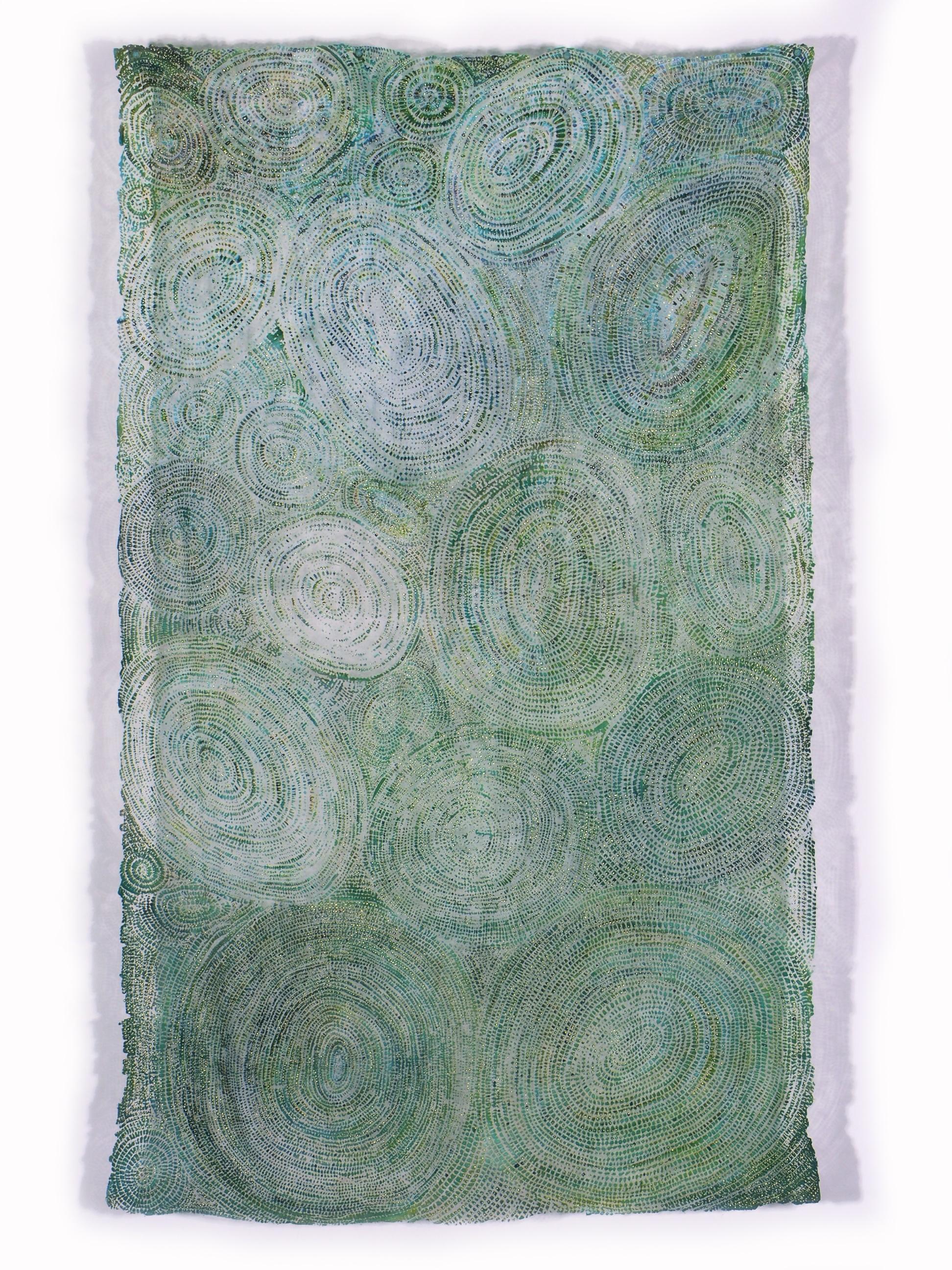 "Soulskin: Sun, Lake, Dragonfly   linen blend, dye, pigment, gold leaf / devoré 90"" x 54"" 2000"