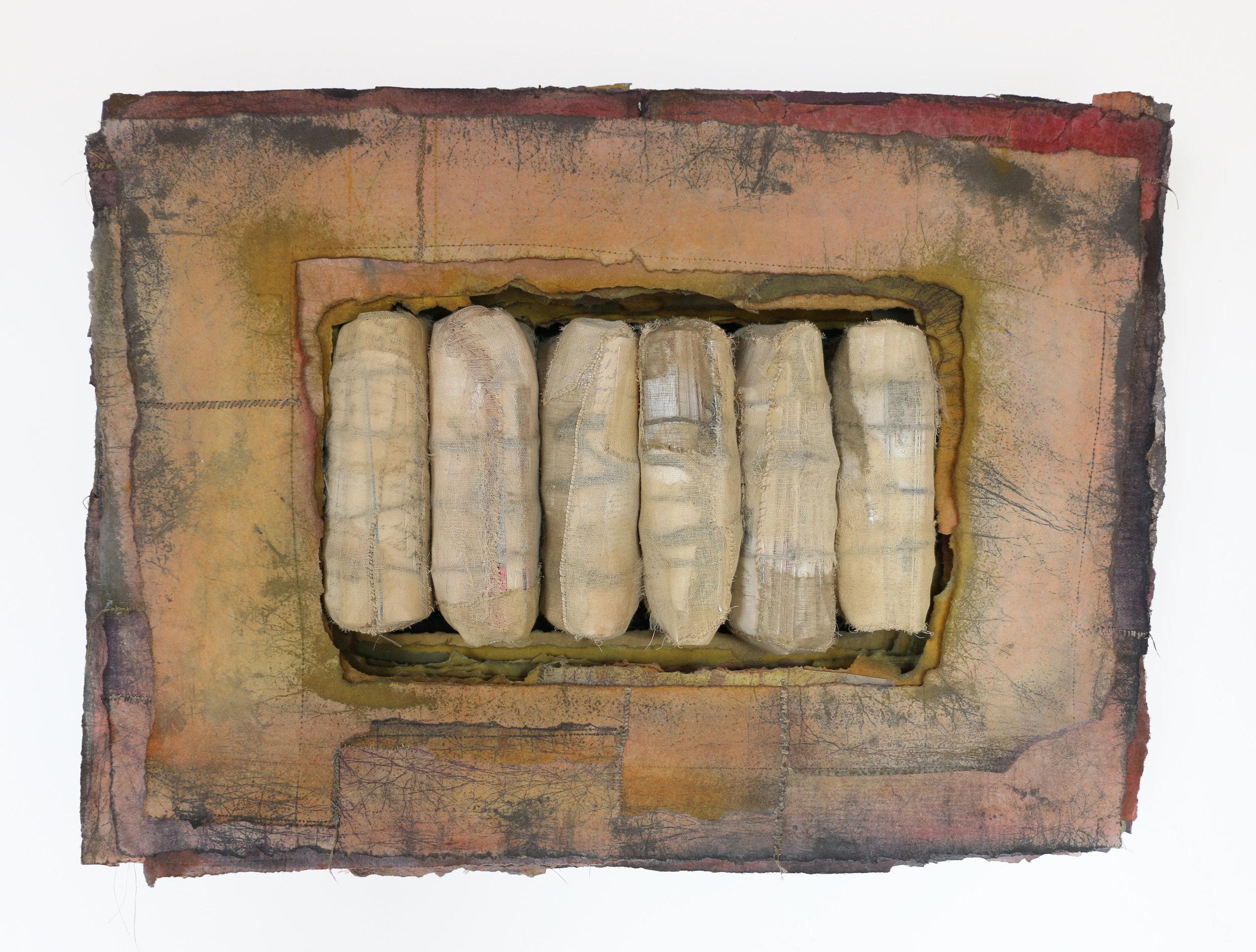 "Chrysalid   cotton, synthetic fiber, paper, pigment, thread 24"" x 32"" x 9"" 1993"