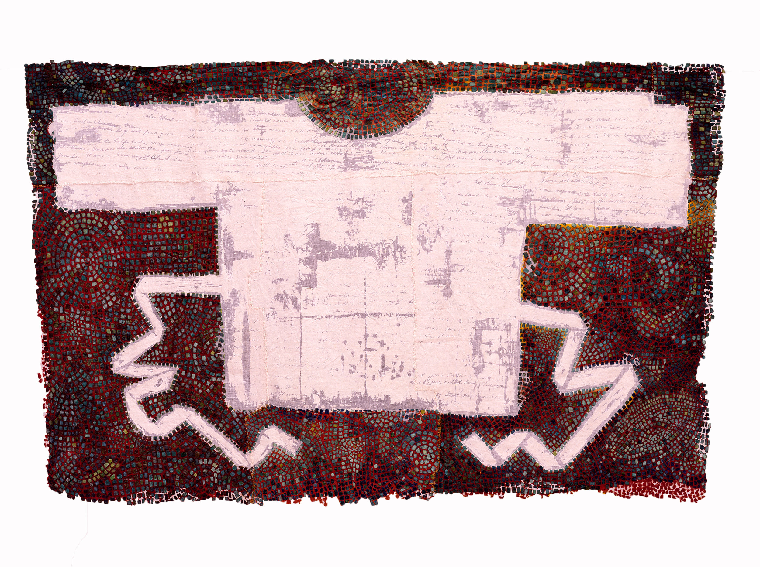 """Excavation: Soulskin #10   linen blend, thread, dye, pigment / devoré 30"""" x 47"""" x 13"""" 1997  """"I embrace the idea of """"old but kept"""" cloth as a metaphorical expression of people's lives. Clearly cloth can be physical evidence of past experiences, traditions and rituals. The text which is burnt through the surface alludes to a personal account, traditions of storytelling, or proverbs passed down through generations, These are all intangibles which can slip through one's fingers if they are not somehow preserved, Both skin and cloth are fragile and vulnerable to the elements, and I question what really lasts, or endures through time.""""–Susan Lordi Marker"""