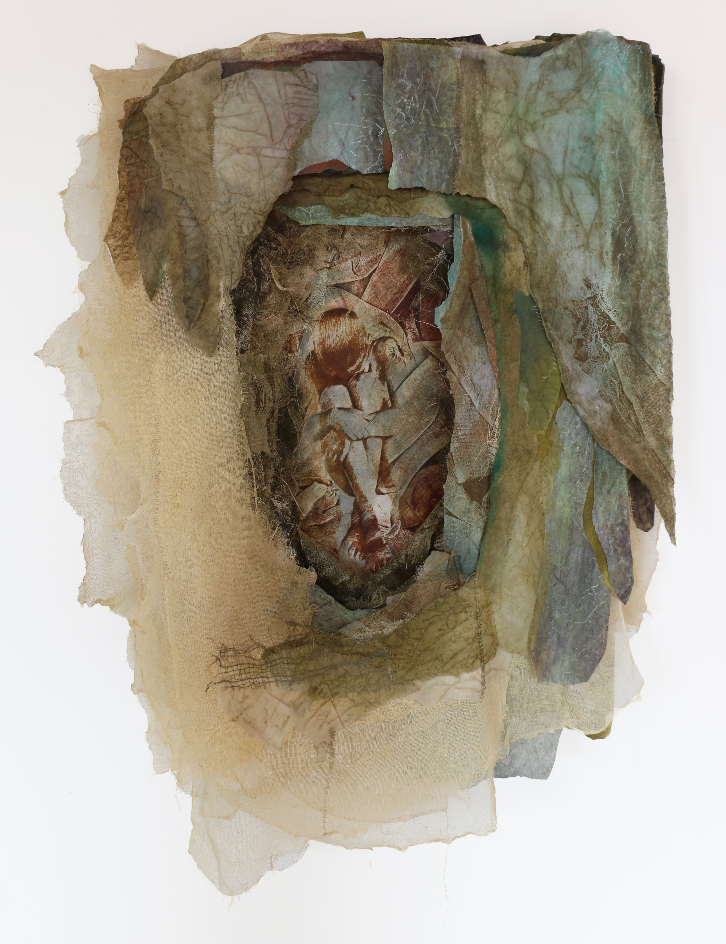 """Tell Your Own Story   cotton, silk, nylon, synthetic fiber, pigment, thread 42"""" x 29"""" x 6"""" 1992"""