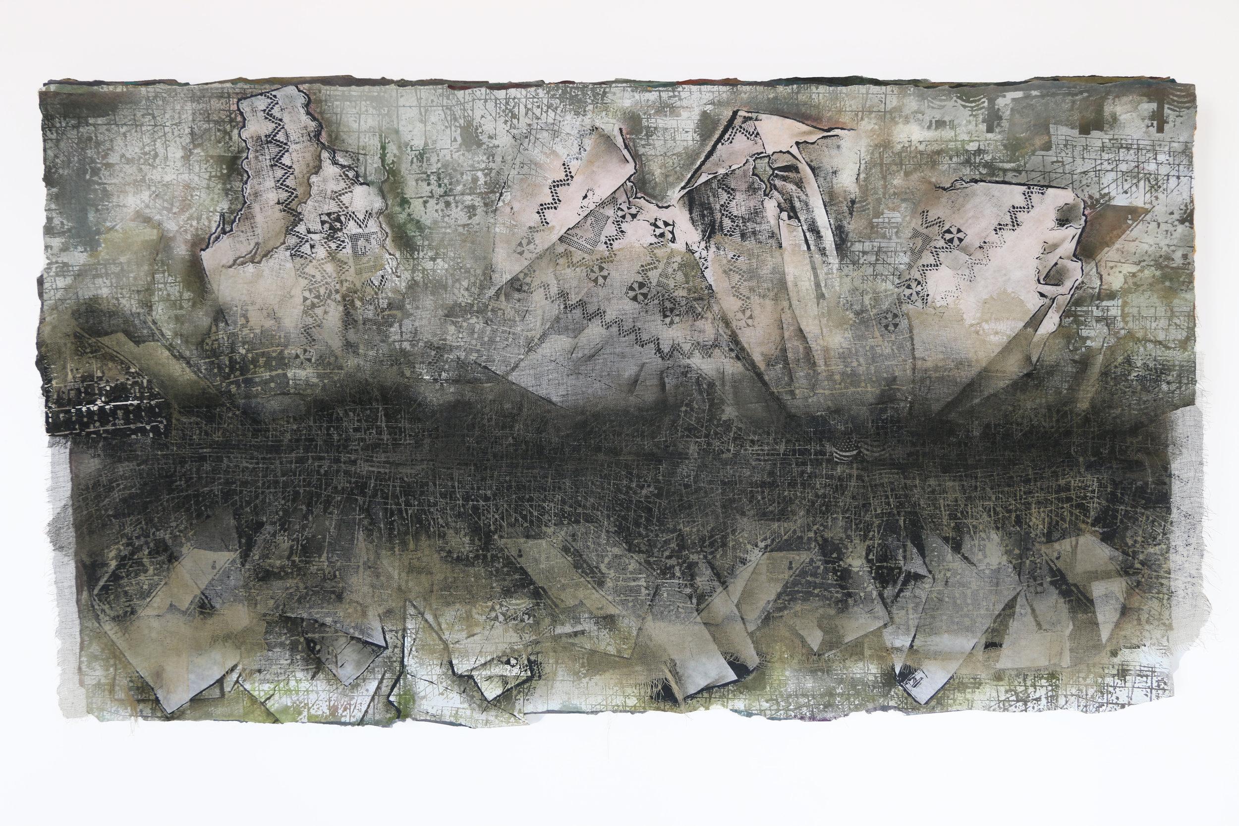 "Passageways, Passageways—Anatomy of an Heirloom   cotton, silk, nylon, synthetic fiber, pigment, thread 30"" x 53"" x 5"" 1993"