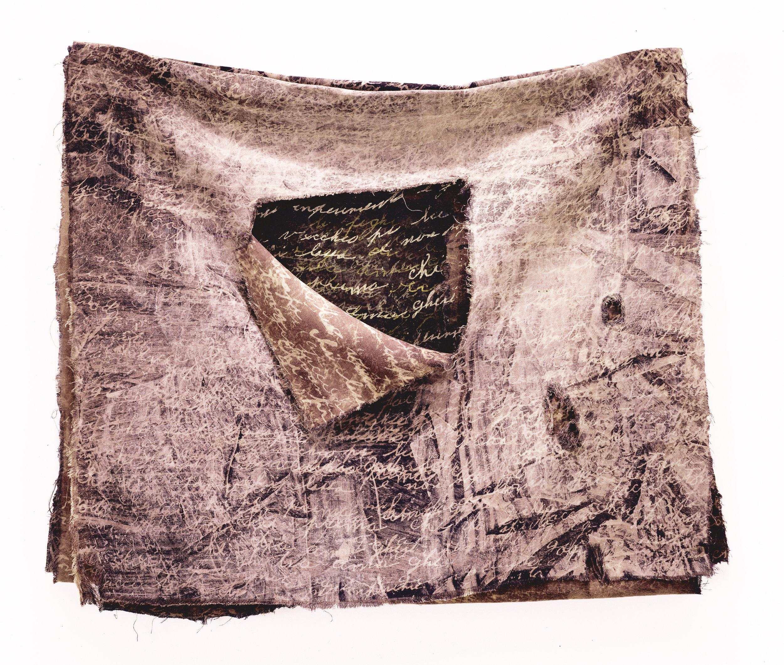 """Damiana's Cloth   rayon, silk, thread 22"""" x 25"""" x2.5"""" 1992"""
