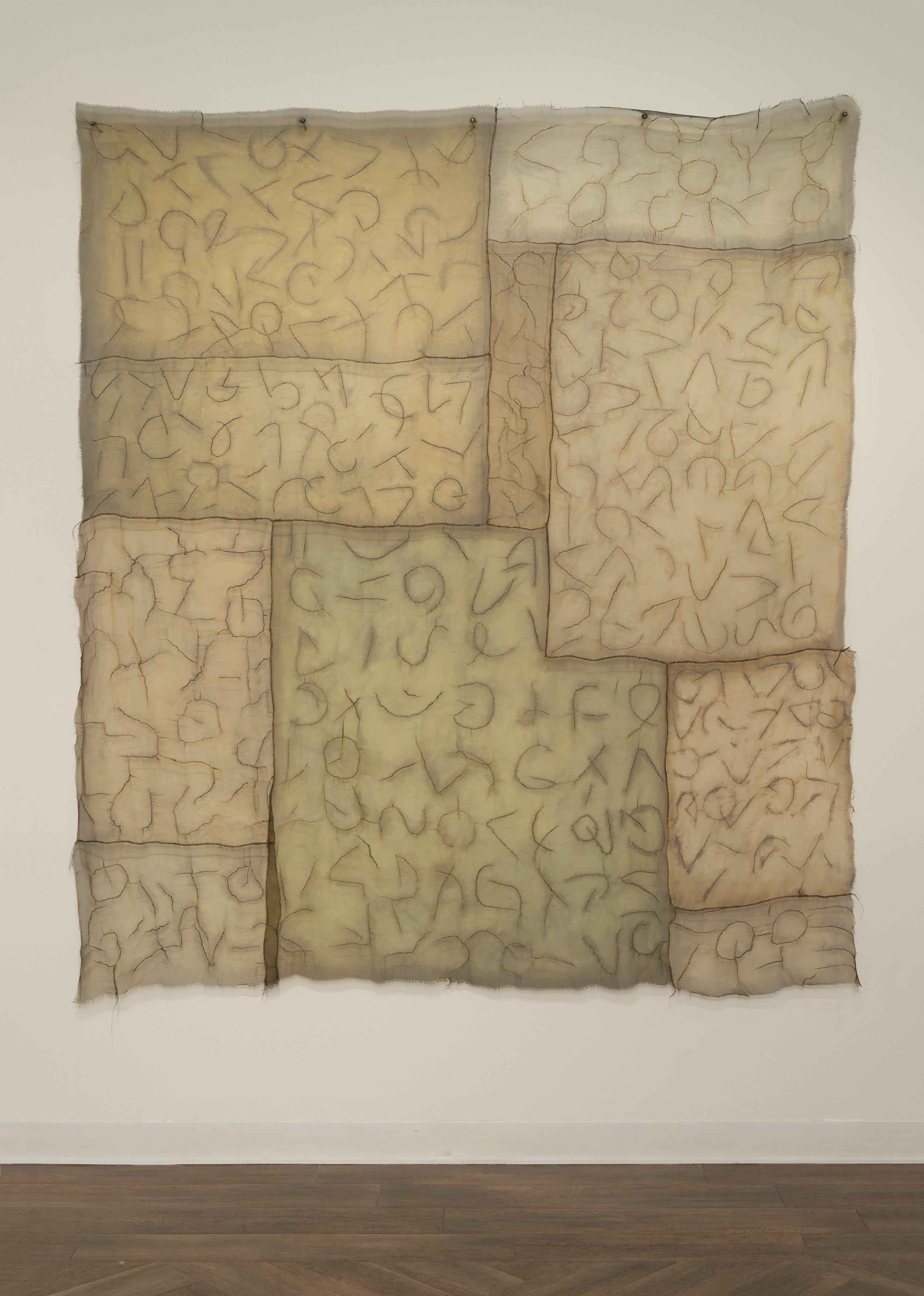 "Beneath   cotton, silk, iron oxide, thread / dyed, hand-stitched  36"" x 40"" 2002"