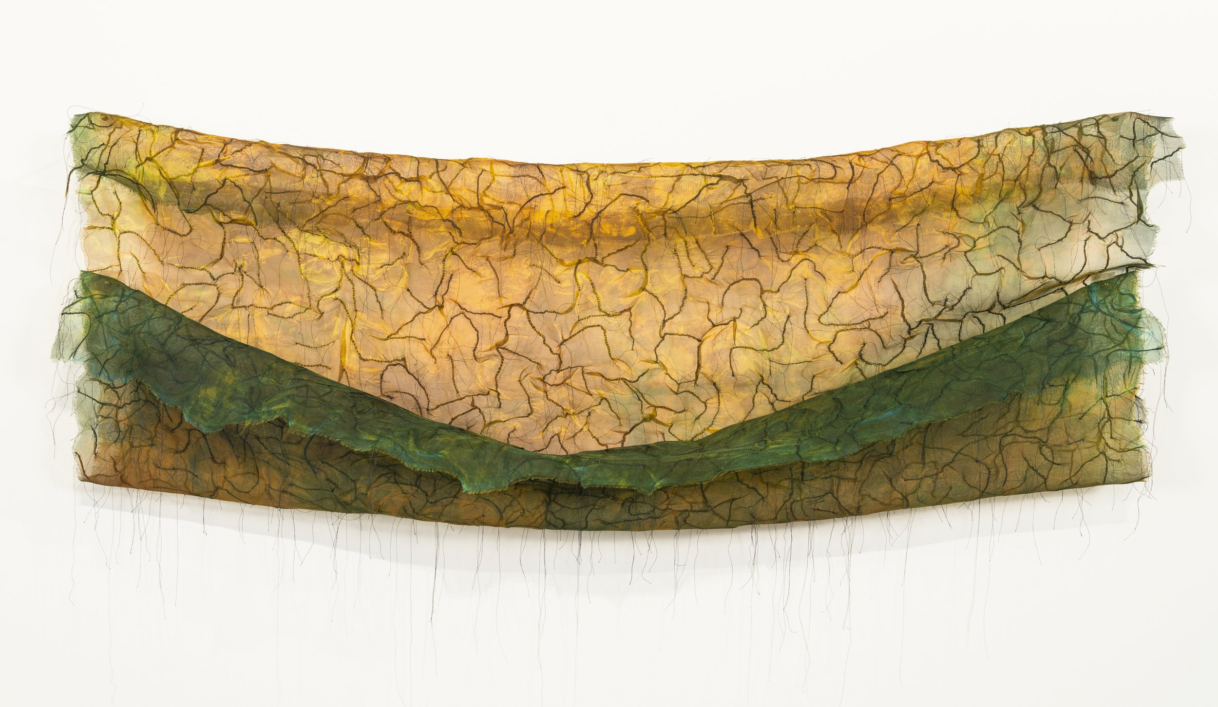 """The Field is Sown   Silk, thread / dyed, hand-stitched 30"""" x 48"""" 2010"""