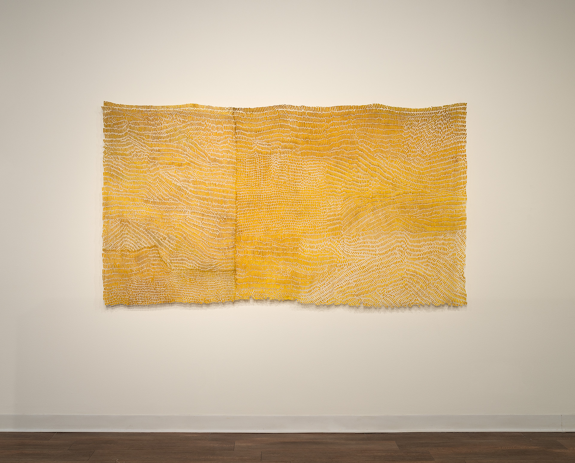 "a remnant: Helianthus   linen blend, gold leaf, thread, dye 48"" x 84"" 2010"