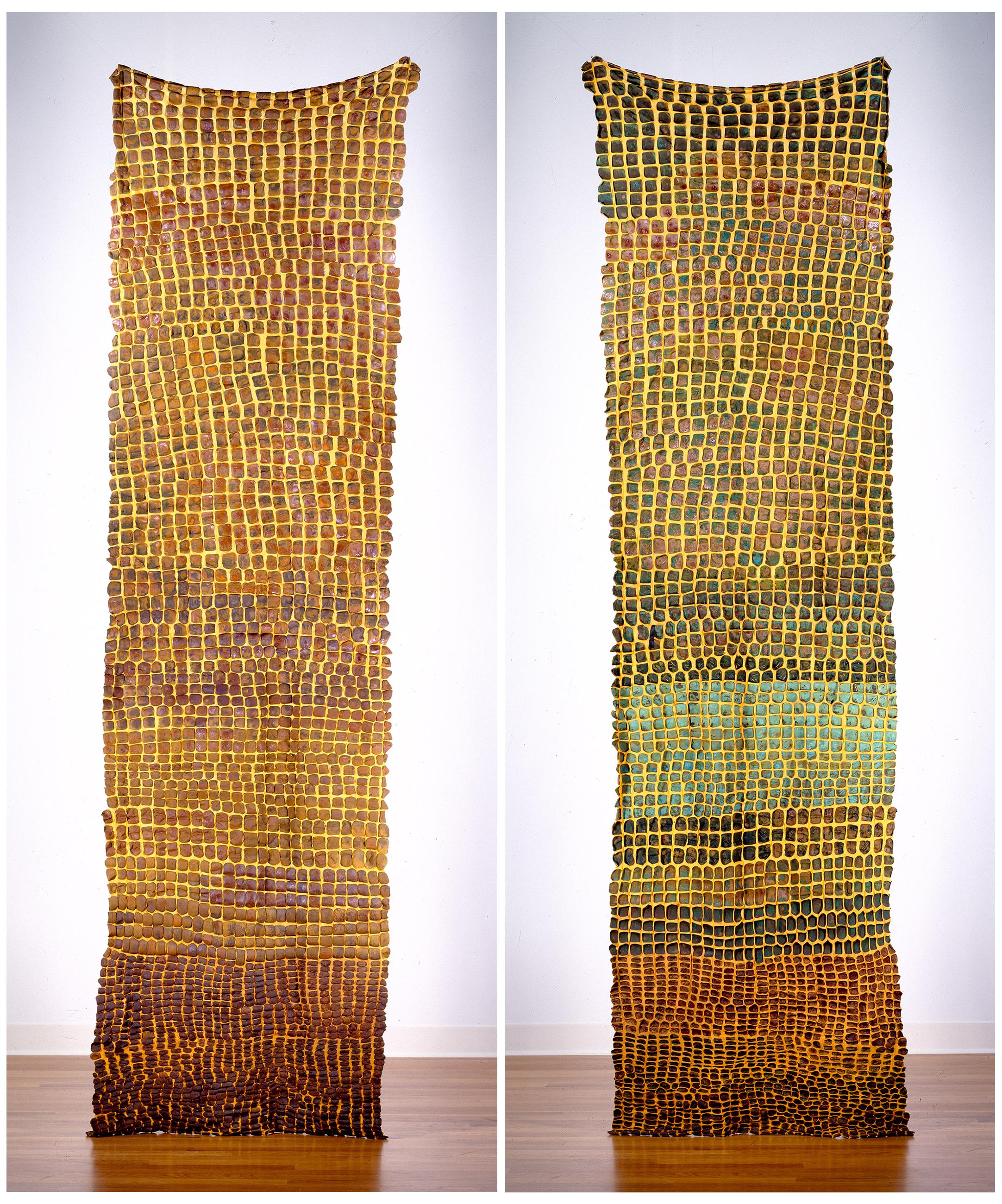 "Generations  Side I (LEFT)  Generations  Side II (RIGHT)  nylon, iron, copper, pigment / manual cloqué  117"" x 32"" 2000"