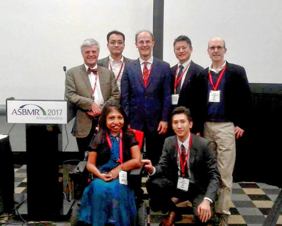 TJF's Dream Team!  Back Row, Dr. Harald Jueppner, MGH; Dr. Sihoon Lee, Professor from Korea studying PTH-related diseases; Dr. Michael Mannstadt, Chief of Endocrine Unit MGH; Hiroshi Saito; Dr. Thomas Gardella, MGH.  Front: Dr. Hiroshi Noda, MGH Endocrine Unit, performed and presented studies in Jansen Mice reported at 2017.