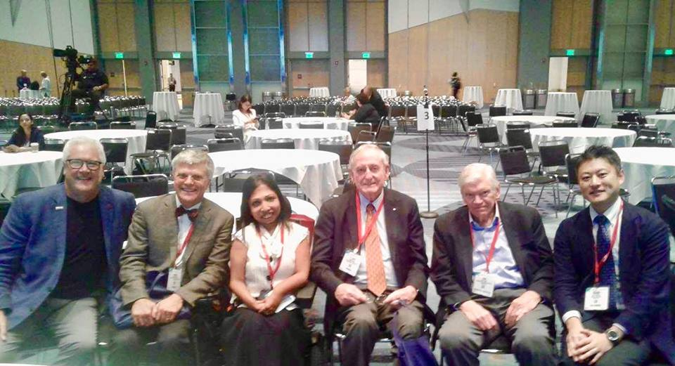 L-R, Dr. Larry Suva, co-discover of PTHrP, currently a Professor at the Univ. of Texas; Dr. Harald Juepnner at MGH; Prof. Jack Martin, co-discover of PTHrP, currently at Univ. Melbourne; Dr. John T. Potts, first to report sequence structure and chemical synthesis of PTH; Dr. Hiroshi Saito, clinical fellow studying natural history of Jansen's with Dr. Jueppner at MGH.