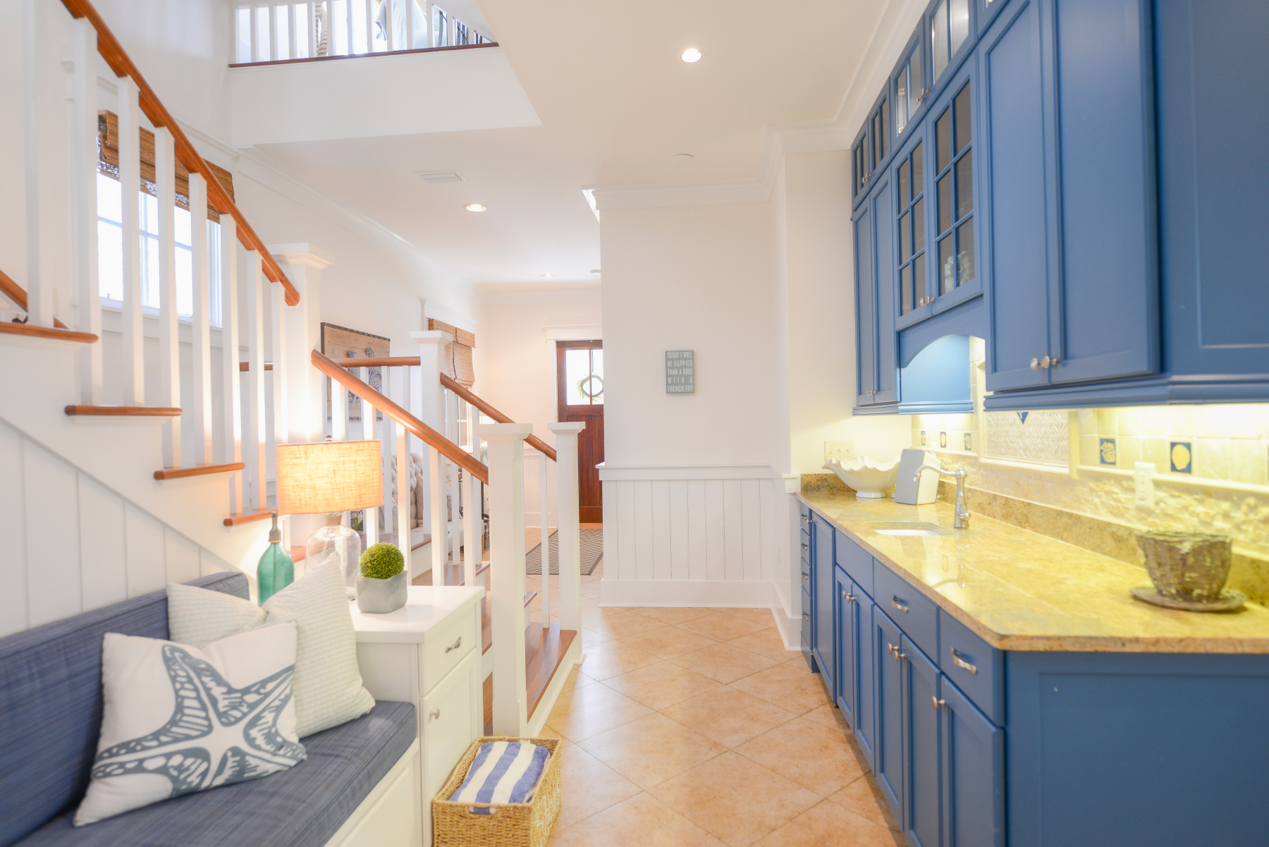 Watercolor florida beach house front entry kitchenette.jpeg