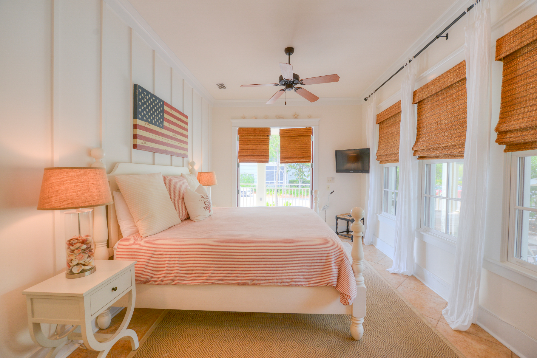 Watercolor florida beach house king flag2.jpeg