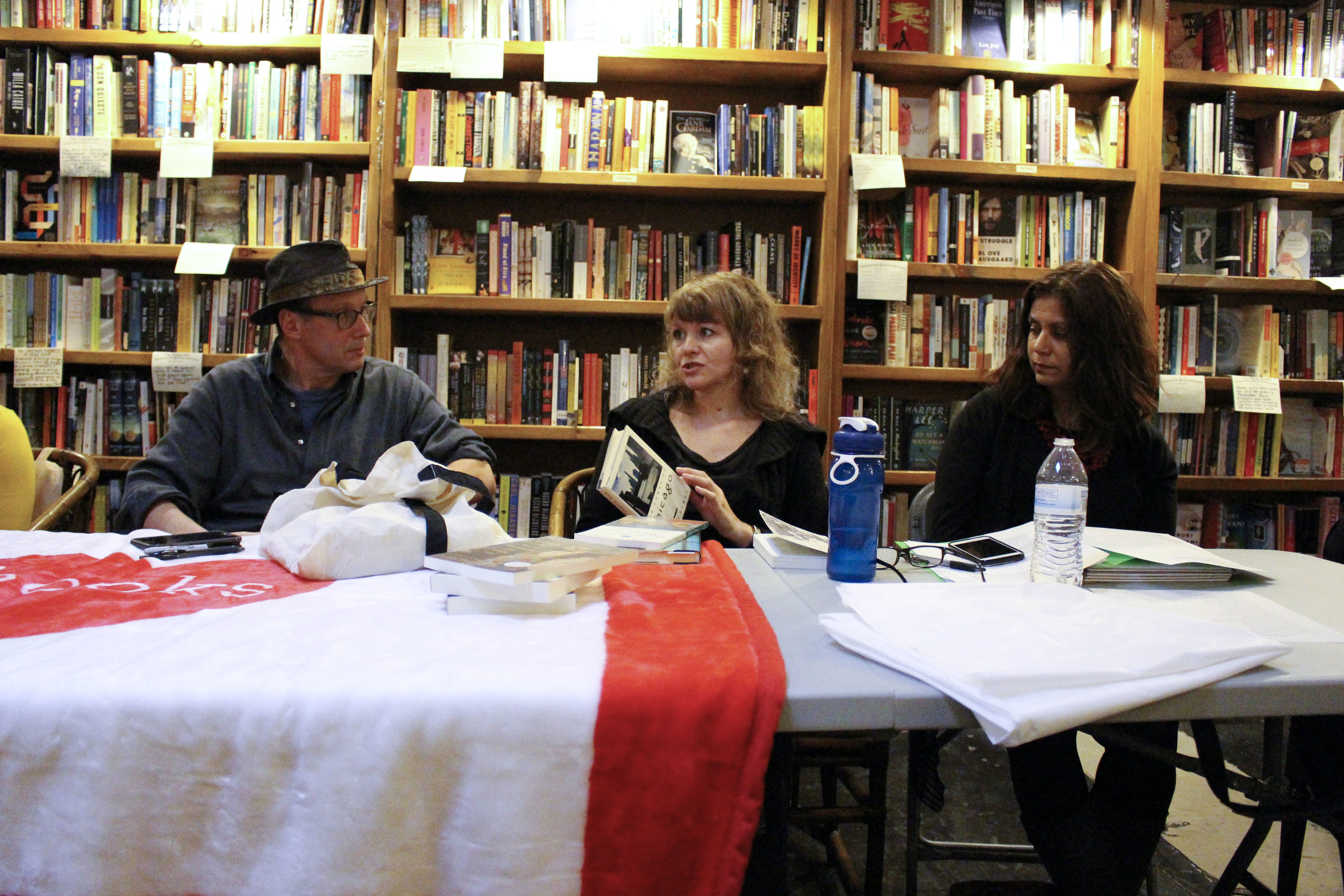 Donald G. Evans, Christine Sneed, and Toni Nealie at Bookends & Beginnings.