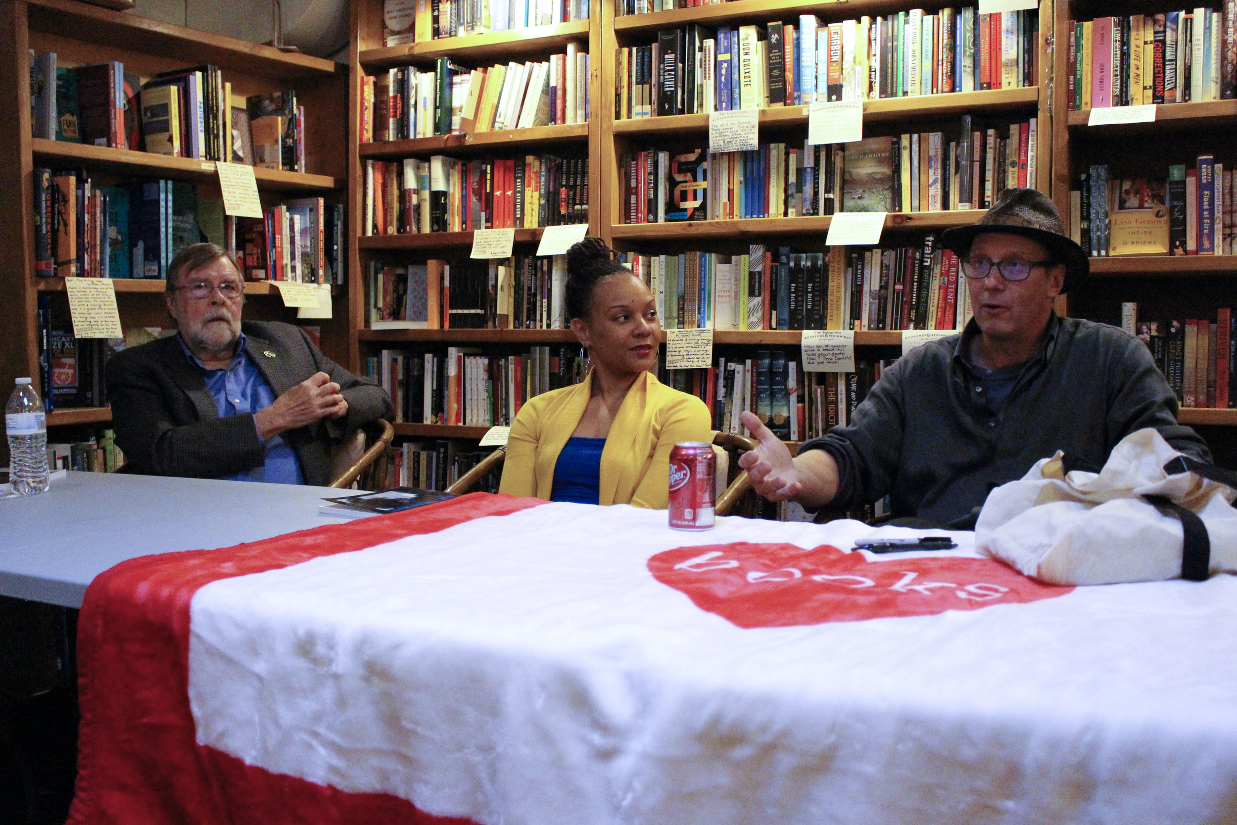 Michael Raleigh, Nambi E. Kelley, and Donald G. Evans at Bookends & Beginnings.