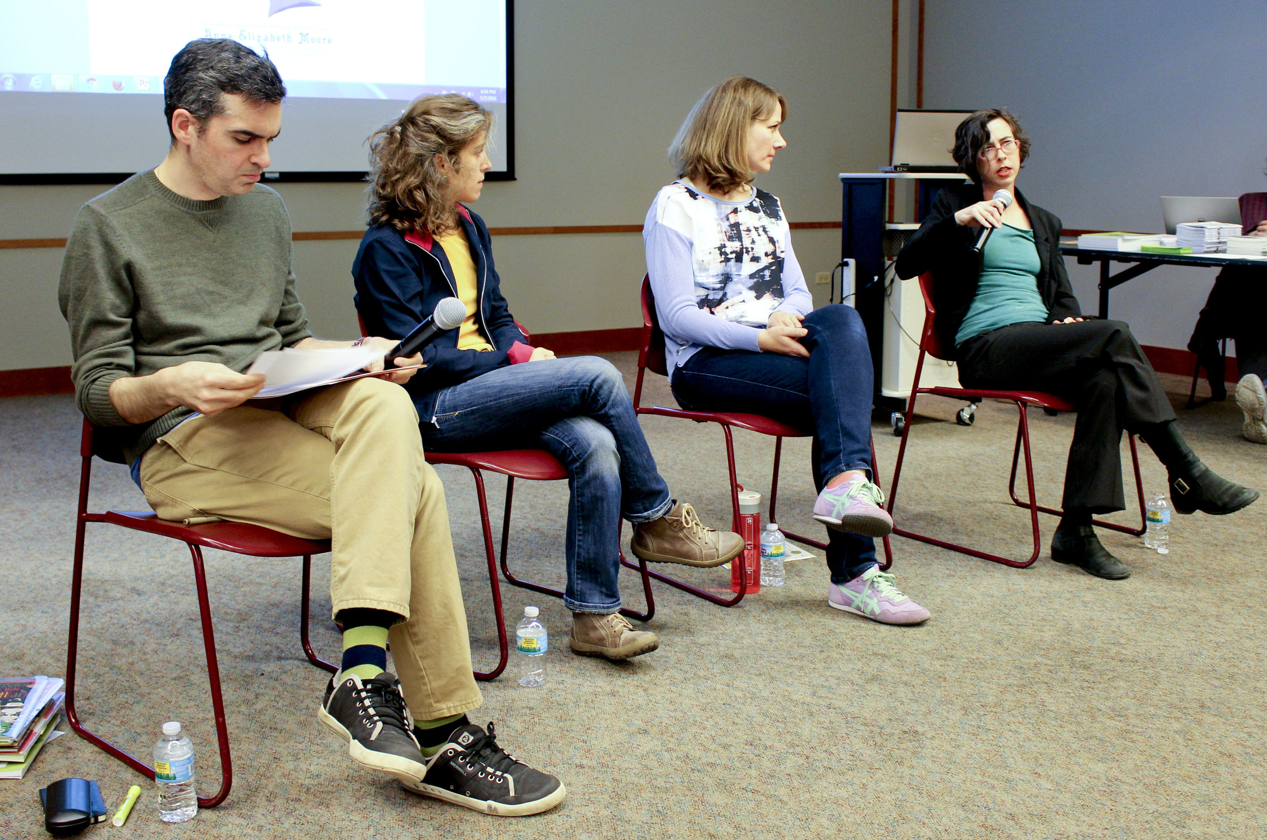 Brian Cremins, Ozge Samanci, Keiler Roberts, and Anne Elizabeth Moore at the Evanston Public Library.